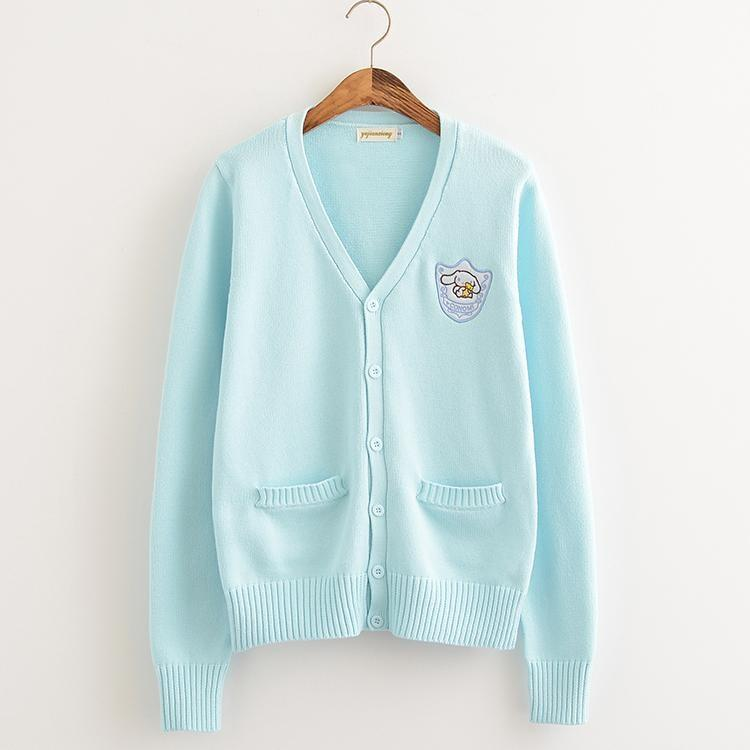 Blue Cinnamoroll Sanrio Knit Cardigan Sweater Sweatshirt Harajuku Japan Kawaii Fashion