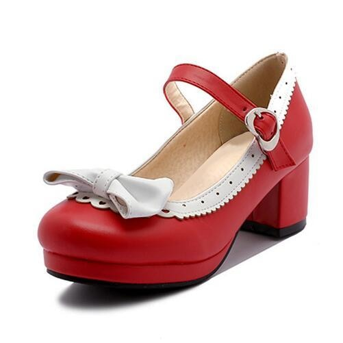 Sweet Red Lolita Babydoll Heels Pumps Shoes Bow Kawaii Fashion Cute Elegant EGL Style