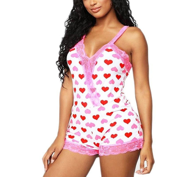 Sweet Heart Romper - Pink / S - abdl, adult baby, bodysuit, heart, hearts