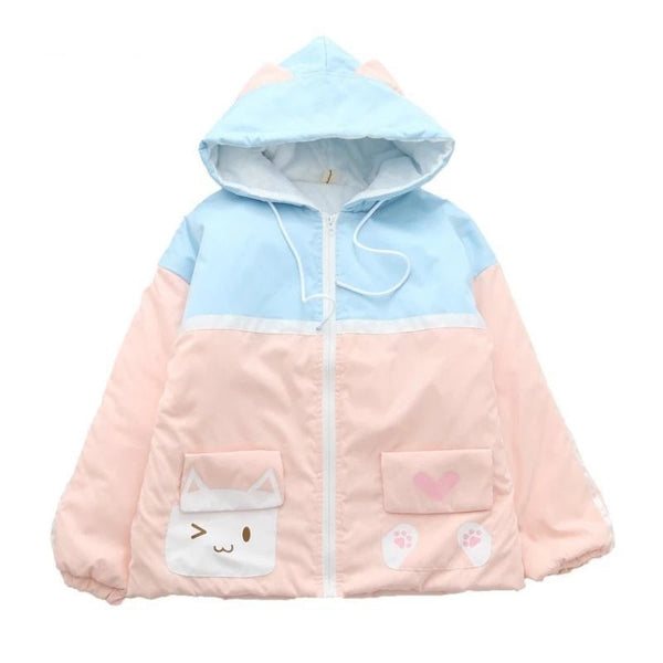 Sweet Kitten Windbreaker - Blue/Pink - jacket