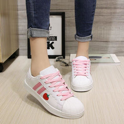 Sweet Strawberry Runners - White / 5 - berry,flats,harajuku,lace up,pink white
