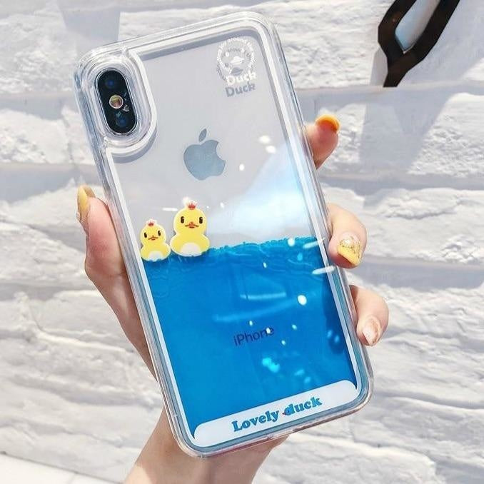 Swimming Duck iPhone Case - For iphone 8 / 2 Ducks - Phone Case