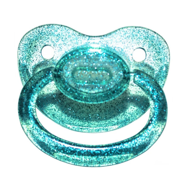 Teal Blue Glitter Adult Pacifier Binkie Soother ABDL CGL Age Play Fetish Kink by DDLG Playground