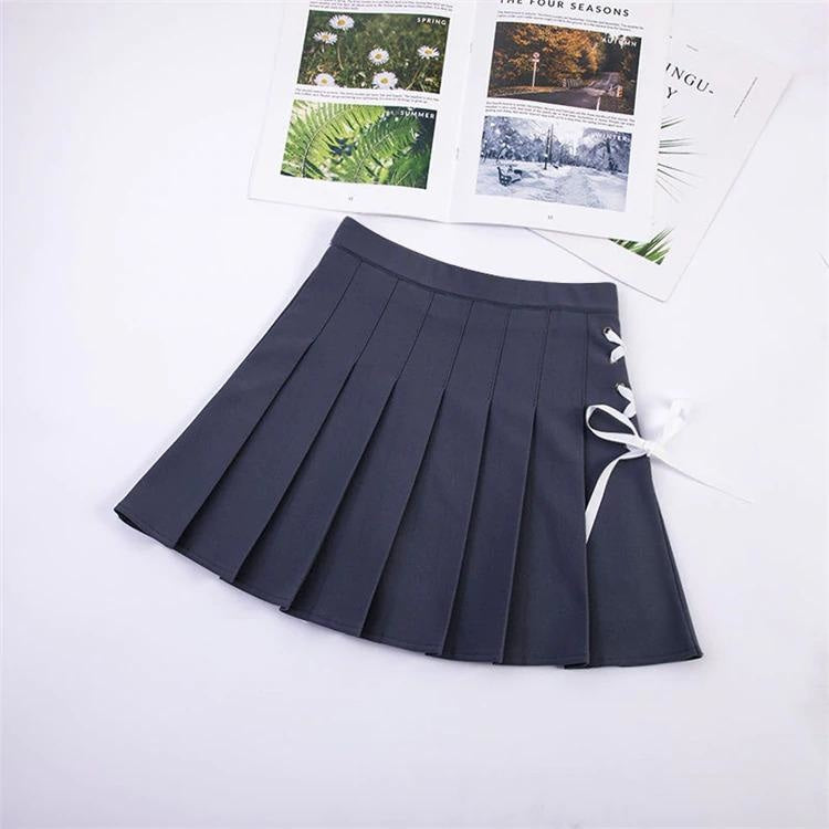 Tie Up Ribbon Skirt - Dark Grey / XL - bottoms, bows, corset, lace up, laces