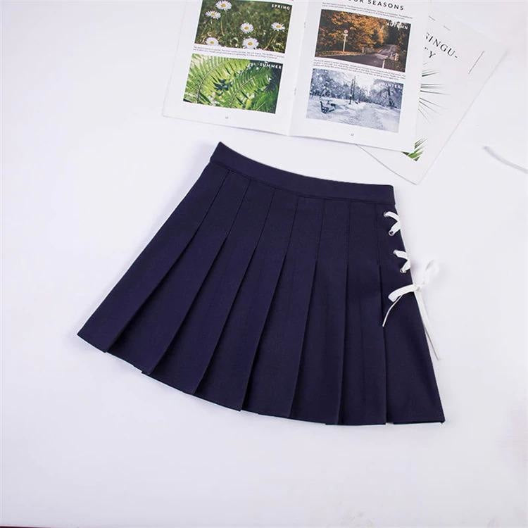 Tie Up Ribbon Skirt - Navy blue / S - bottoms, bows, corset, lace up, laces