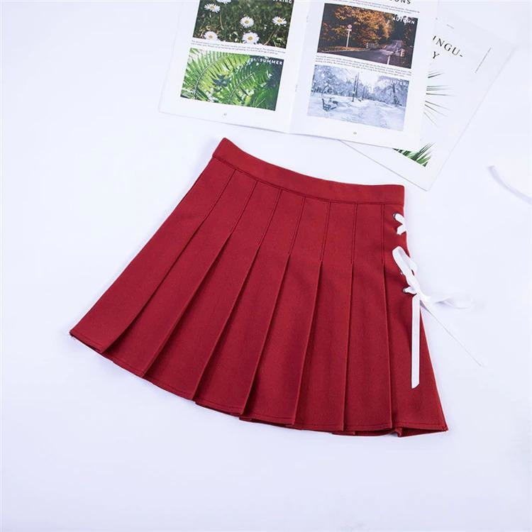 Tie Up Ribbon Skirt - Red / M - bottoms, bows, corset, lace up, laces