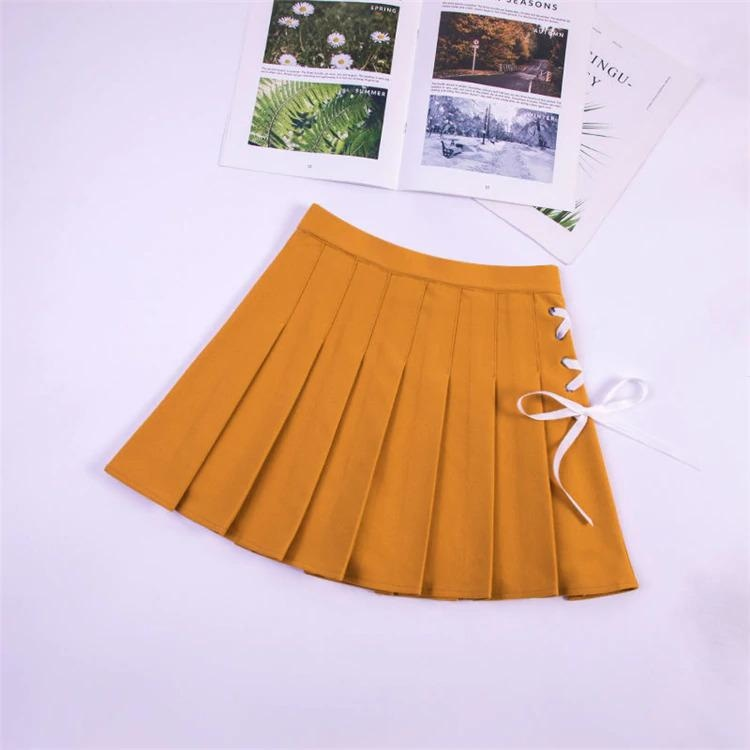 Tie Up Ribbon Skirt - Yellow / XXL - bottoms, bows, corset, lace up, laces