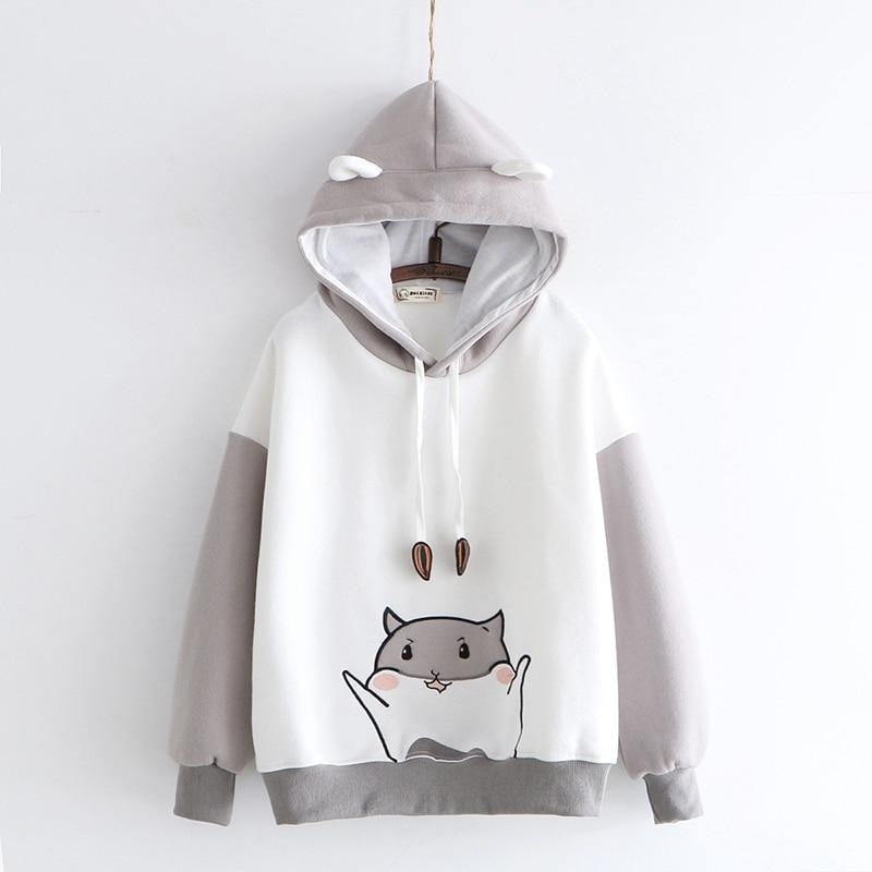 Tiny Hamster Hoodie - Gray - angel cat, cats, fairy kei, fairykei, farm