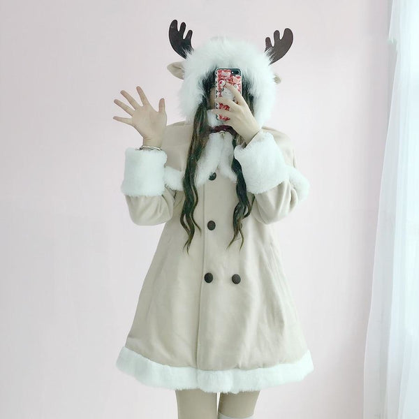 Tiny Reindeer Winter Dress Coat - Khaki / S - jacket
