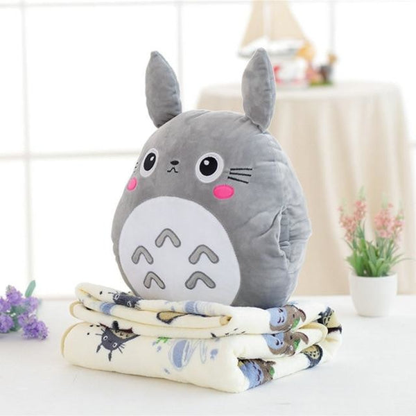 Totoro Plush & Blanket Set - Grey totoro blanket & plush set - backpack