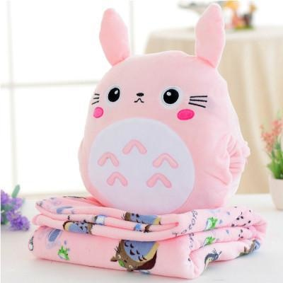 Totoro Plush & Blanket Set - Pink totoro blanket & plush set - backpack