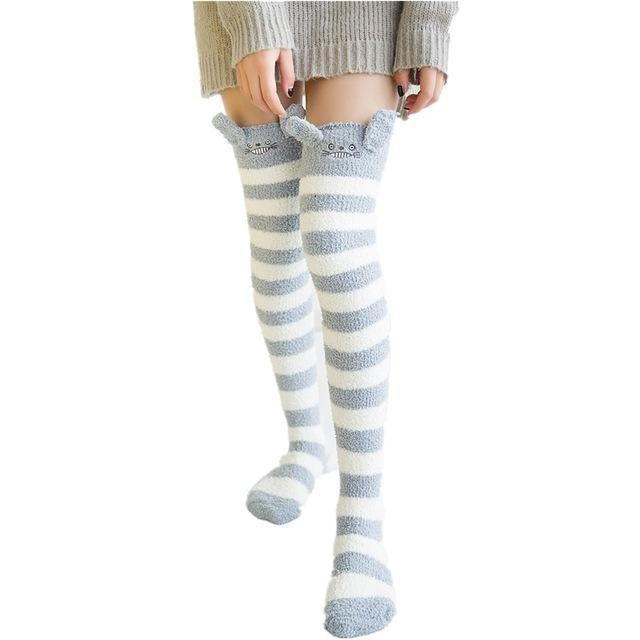 my neighbor totoro plush thigh high socks studio ghibli stockings knee socks tights furry fuzzy warm animal print striped winter wear