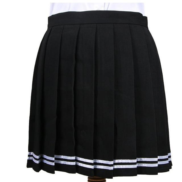 Traditional Pleated Skirt (up to 3XL) - Black Striped / S - skirt