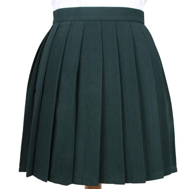 Traditional Pleated Skirt (up to 3XL) - Blackish green / S - skirt