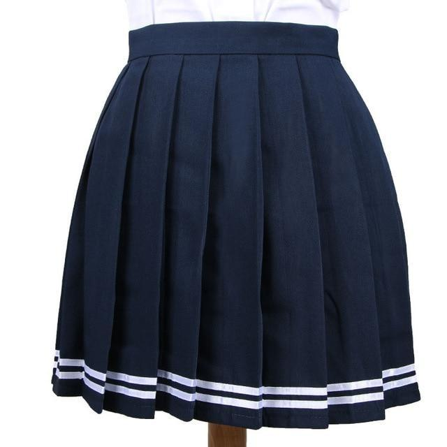 Traditional Pleated Skirt (up to 3XL) - Blue Striped / S - skirt