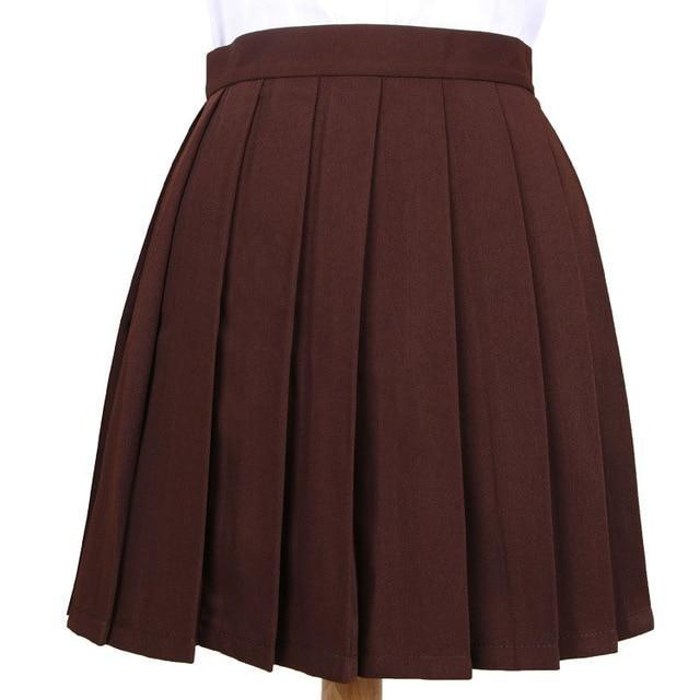 Traditional Pleated Skirt (up to 3XL) - Coffee / S - skirt