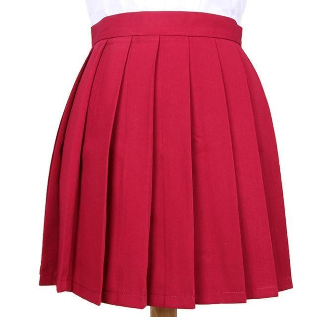 Traditional Pleated Skirt (up to 3XL) - Dark red / S - skirt