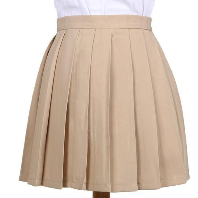 Traditional Pleated Skirt (up to 3XL) - Khaki / S - skirt