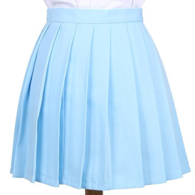 Traditional Pleated Skirt (up to 3XL) - Light blue / S - skirt