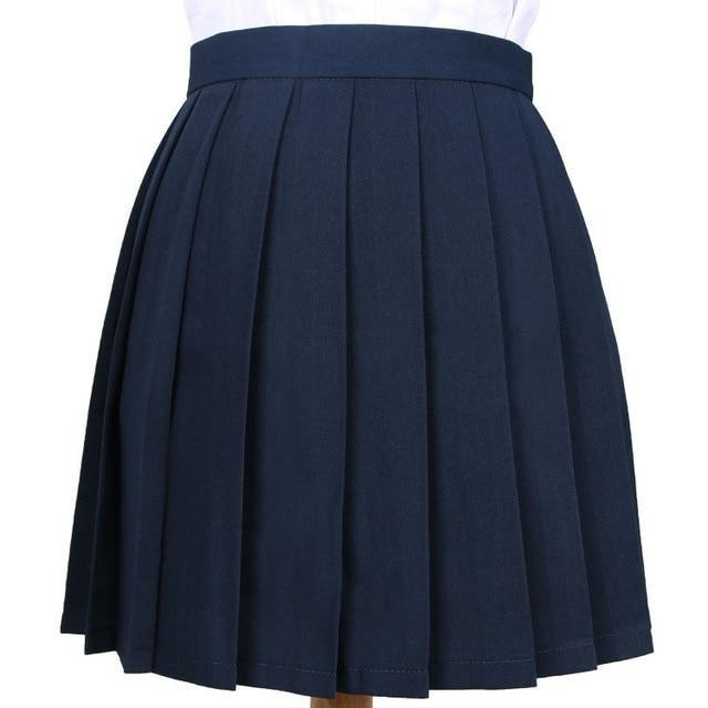 Traditional Pleated Skirt (up to 3XL) - Navy blue / S - skirt