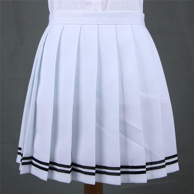 Traditional Pleated Skirt (up to 3XL) - White Striped / S - skirt
