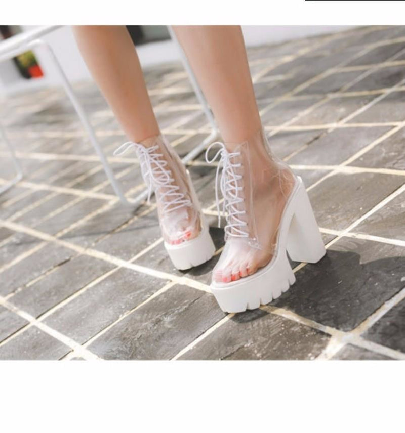 Transparent Clear Babydoll Booties Ankle Boots Shoes Sexy Edgy Invisible Hipster Harajuku Kawaii Fashion