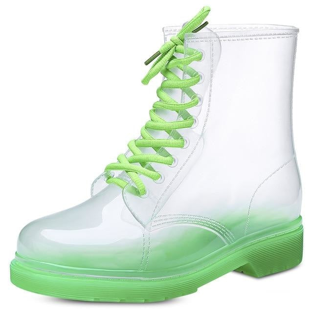 Transparent Rain Booties - Green / 5 - boots