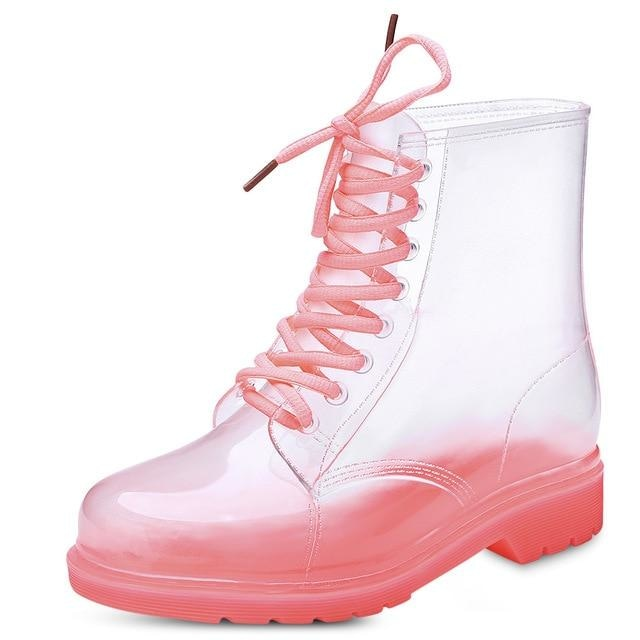 Transparent Rain Booties - Red/Pink / 9 - boots
