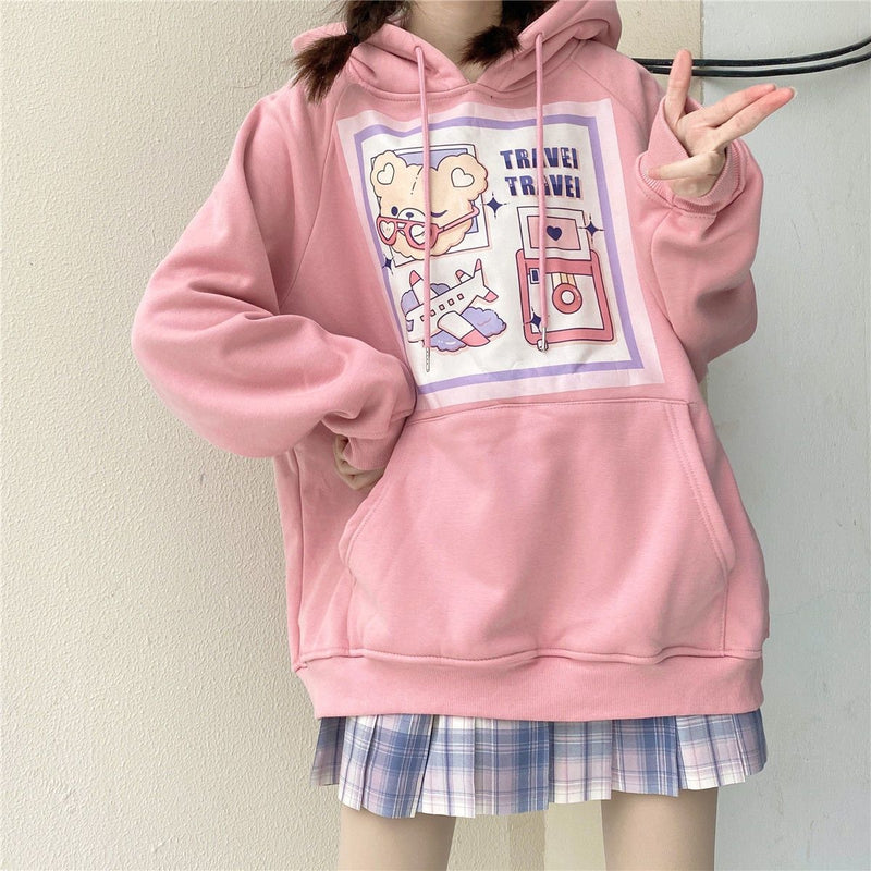 Travel Bear Hoodie - Pink / S - baby bear, bears, bunnies, hooded, hoodies
