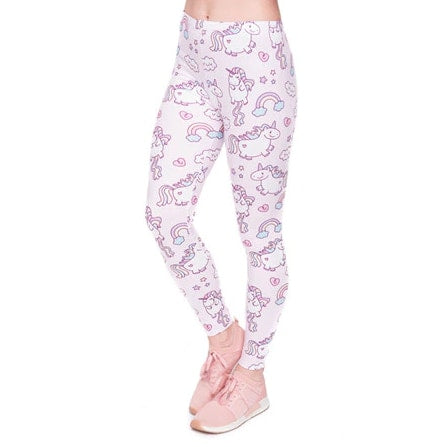 White Purple Unicorn Leggings Yoga Pant Cute Kawaii Fairy Kei