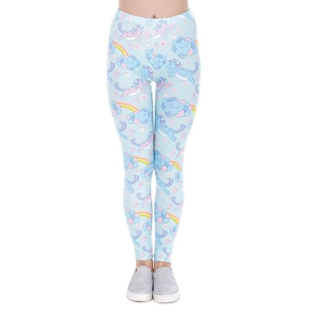 Blue Cloud Unicorn Leggings Yoga Pant Cute Kawaii