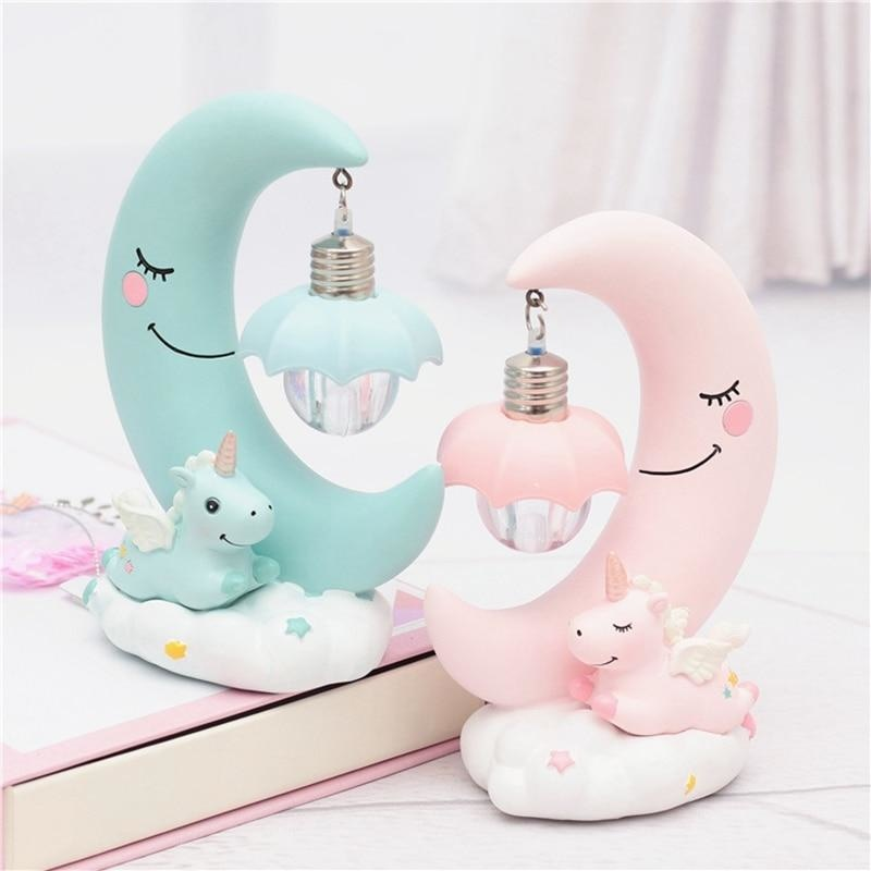 Pastel Fairy Kei Unicorn Moon Night Light Table Lamp Bedside Cute Decor