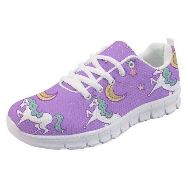 Kawaii Purple Unicorn Shoes Sneakers Athletic Footwear Cute Pastel Fairy Kei Style