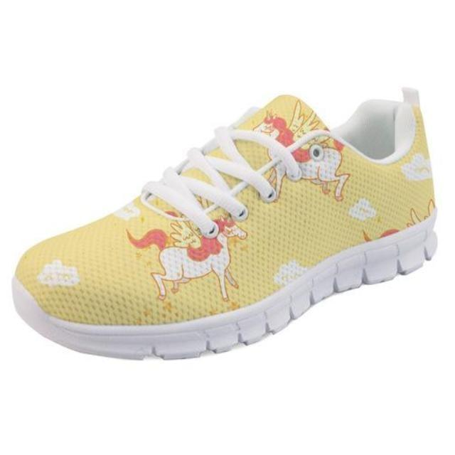 Kawaii Yellow Unicorn Shoes Sneakers Athletic Footwear Cute Pastel Fairy Kei Style