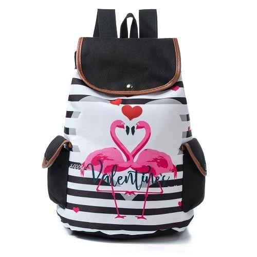 Pink Flamingo Backpack Rucksack Book Bag School Knapsack Kawaii