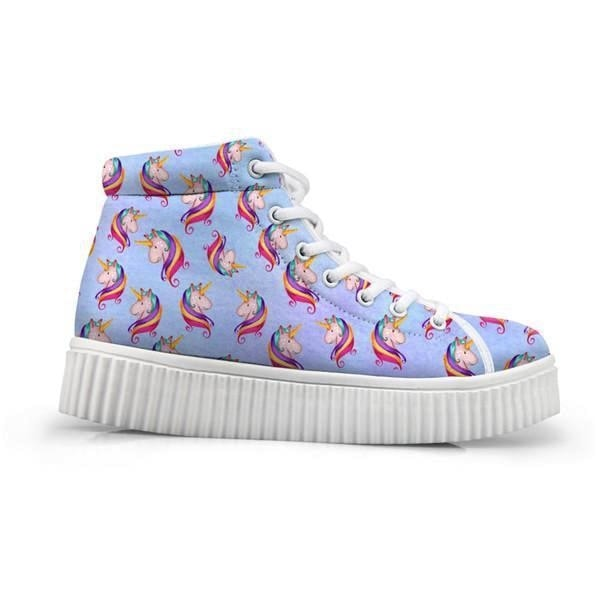 Unicorn Wedge High Tops (Many Colors) - Blue Unicorn / 5 - Shoes