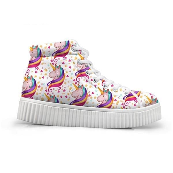 Unicorn Wedge High Tops (Many Colors) - Confetti Unicorn / 5 - Shoes