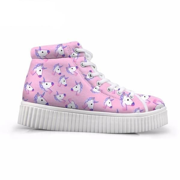 Unicorn Wedge High Tops (Many Colors) - Emoji Pink Unicorn / 5 - Shoes