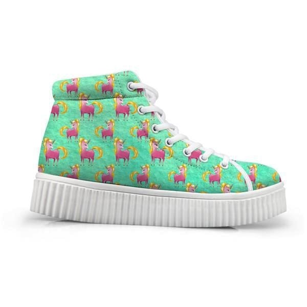Unicorn Wedge High Tops (Many Colors) - Green Unicorn / 5 - Shoes