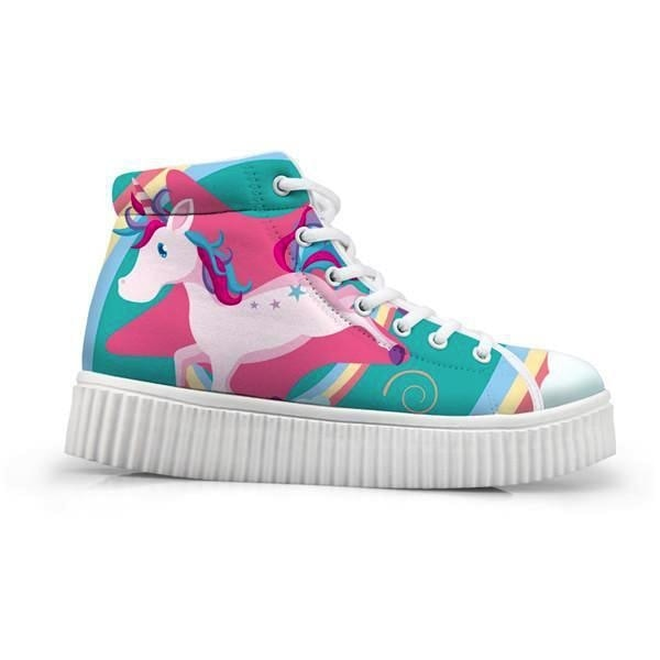 Unicorn Wedge High Tops (Many Colors) - Pastel Patchwork Unicorn / 5 - Shoes