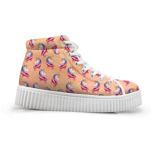Unicorn Wedge High Tops (Many Colors) - Peach Unicorn / 5 - Shoes