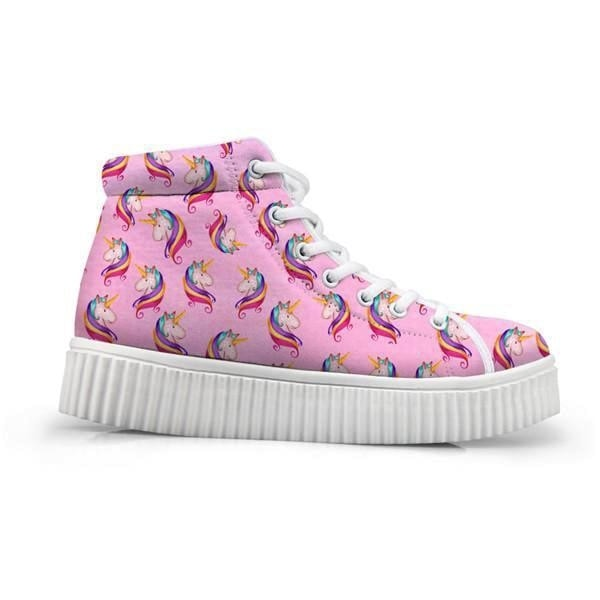 Unicorn Wedge High Tops (Many Colors) - Pink Unicorn / 5 - Shoes