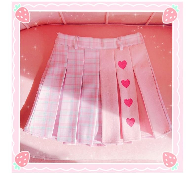Valentine Pleated Skirt - fairy kei, hearts, love, lovecore, pastel kei