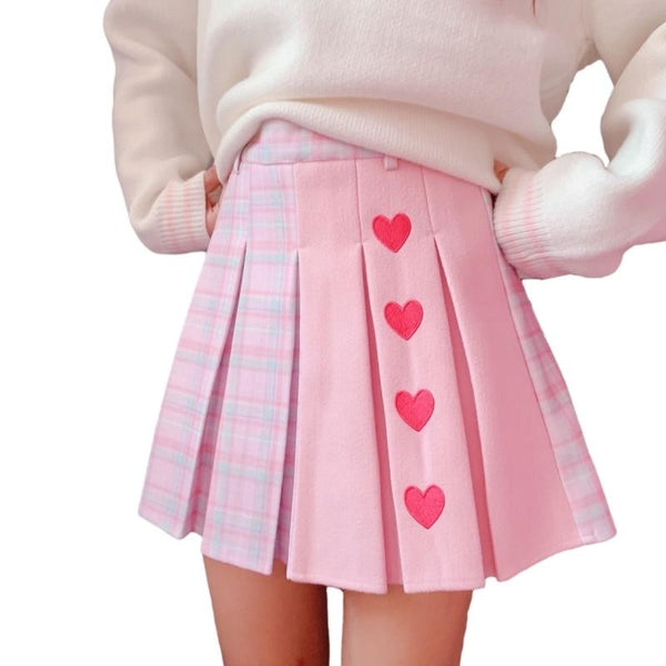 Valentine Pleated Skirt - L - fairy kei, hearts, love, lovecore, pastel kei