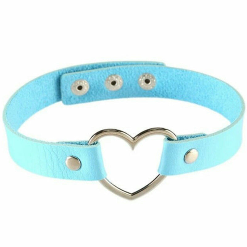 Kawaii Blue Heart Choker Collar Vegan Leather Bondage Leash Kink