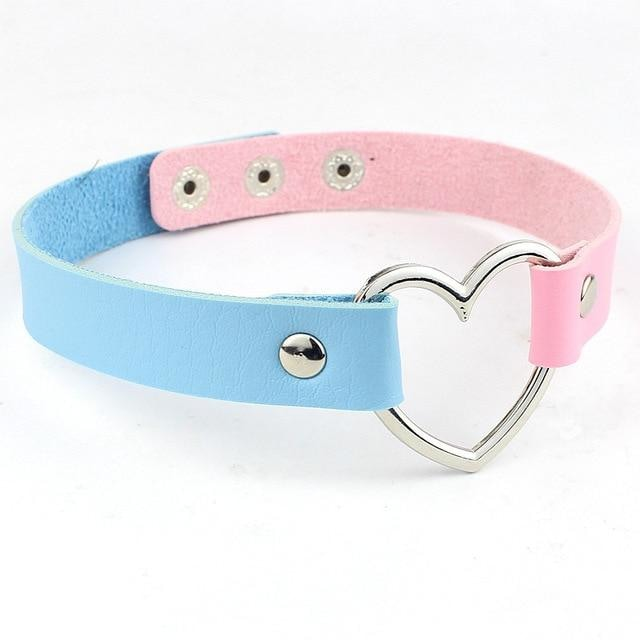 Kawaii Pink Blue Heart Choker Collar Vegan Leather Bondage Leash Kink