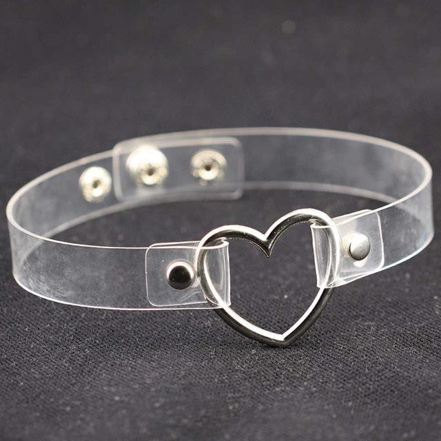 Kawaii Clear Transparent Heart Choker Collar Vegan Leather Bondage Leash Kink