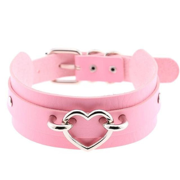 Pink Vegan Leather Heart Choker Collar Necklace Belted BDSM Bondage Kink Fetish
