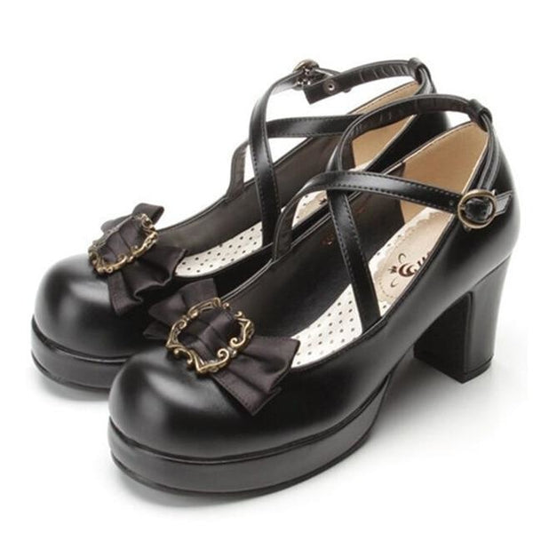 Victorian Bow Lolita Heels - Black / 6 - Shoes