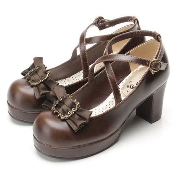 Victorian Bow Lolita Heels - Brown / 6 - Shoes